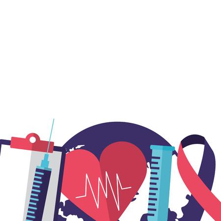 syringe heart report ribbon world health day vector illustration