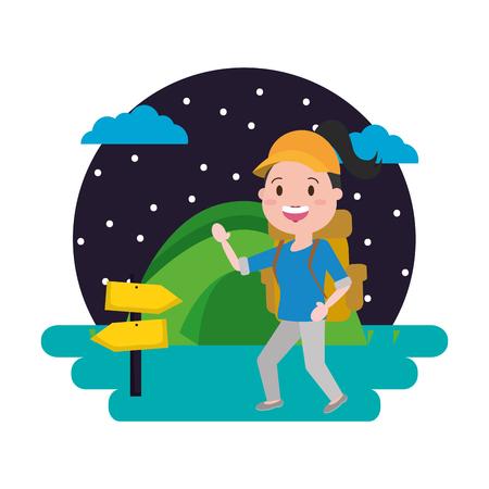 woman travel backpack tent camping landscape vector illustration