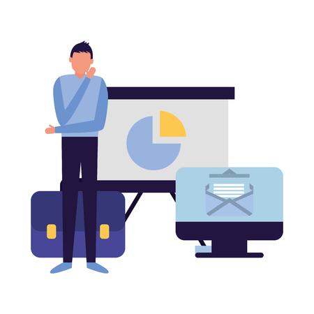 hombre de negocios, con, computadora, informe, tablero, maletín, vector, ilustración