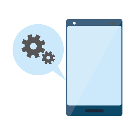 smartphone speech bubble setting device vector illustration