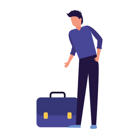 businessman with briefcase on white background vector illustration Stock Illustratie