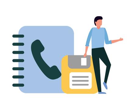 Businessman work office disquette et carnet d'adresses vector illustration