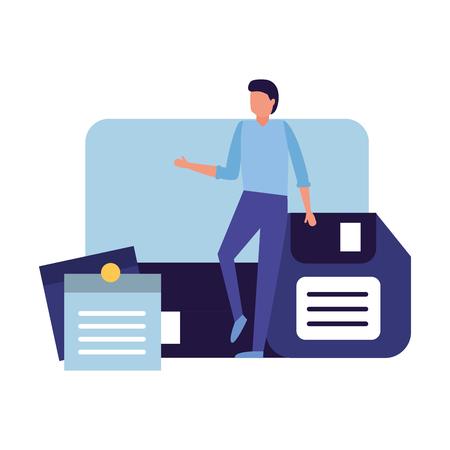 Geschäftsmann Arbeit Büro Computer Diskette und Notiz-Memo-Vektor-Illustration