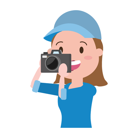 woman tourist taking photo with camera vector illustration Imagens - 118387635