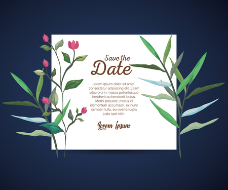 botanic card with nature flowers and leaves vector illustration Çizim