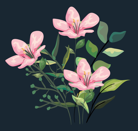 tropical flowers plants with exotic leaves style vector illustration