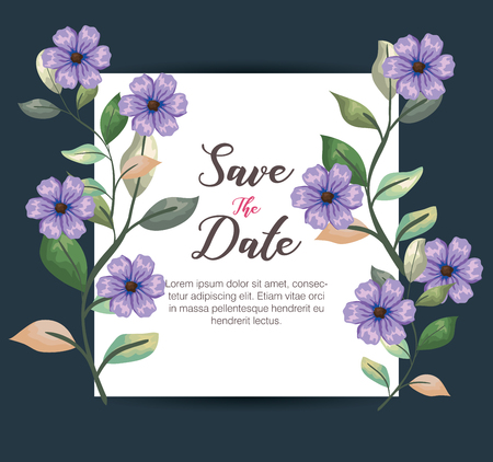 botanic card with tropical flowers plants and leaves vector illustration