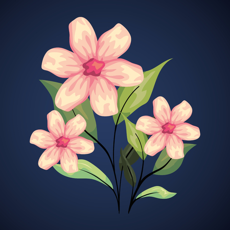 exotic flowers plants with tropical leaves vector illustration