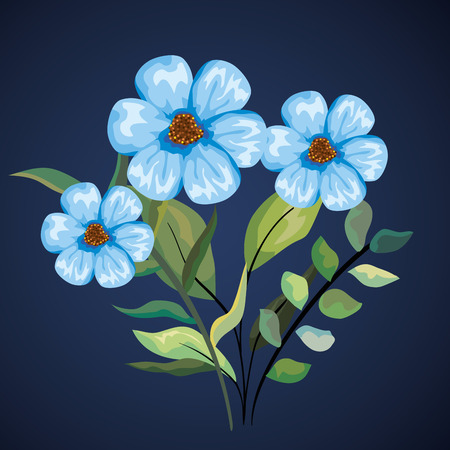 nature flowers plants with tropical leaves vector illustration 向量圖像