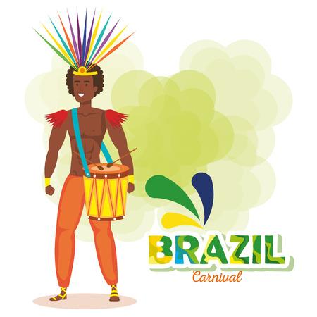 brazilian male dancer playing drum vector illustration design Фото со стока - 118456264