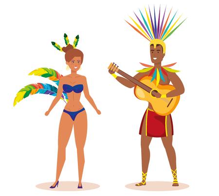 brazilian male dancer playing guitar with garota vector illustration design