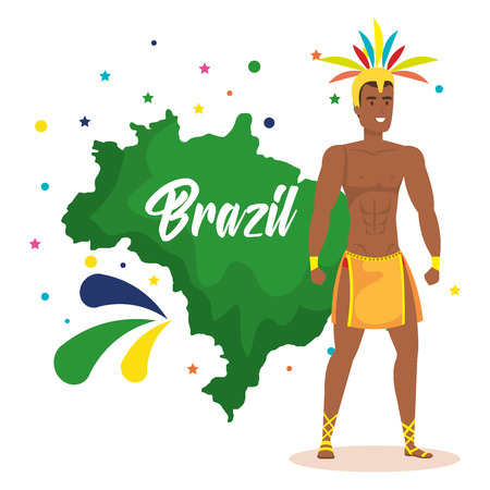 brazilian dancer with map and set icons vector illustration design  イラスト・ベクター素材