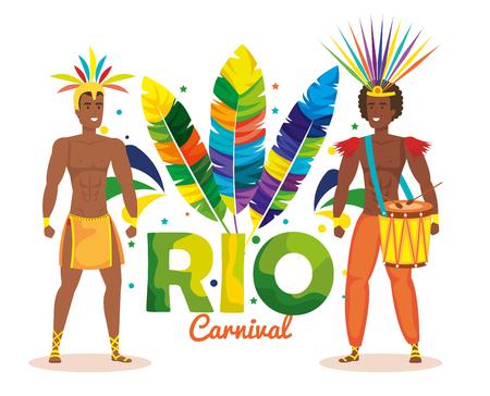 brazilian male dancers playing drum vector illustration design Ilustração