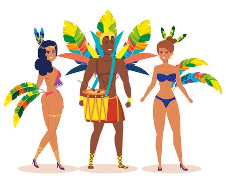 brazilian male dancer playing drum with garotas vector illustration design