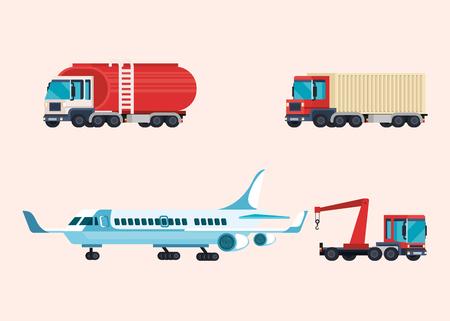 delivery service set of vehicles vector illustration design