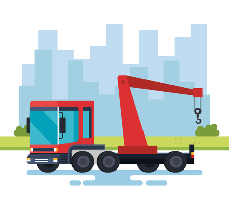 truck crane logistic service vector illustration design