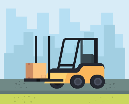 forklift vehicle delivery service vector illustration design