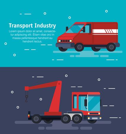 truck crane with van logistic service vector illustration design