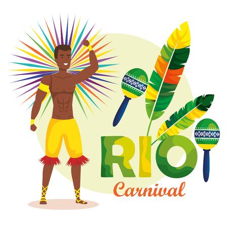 brazilian dancer with maracas character vector illustration design