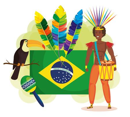 brazilian dancer with flag ans carnival icons vector illustration design