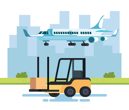 forklift vehicle and airplane vector illustration design Illustration