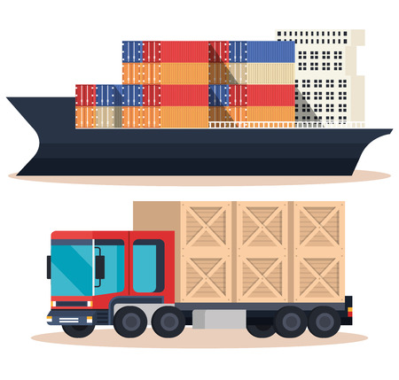 ship with containers and truck vector illustration design