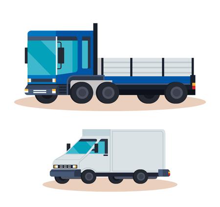 delivery service truck with van vector illustration design Illustration