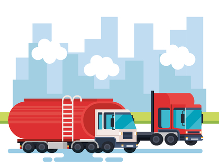 tanker trucks logistic service vector illustration design Illustration