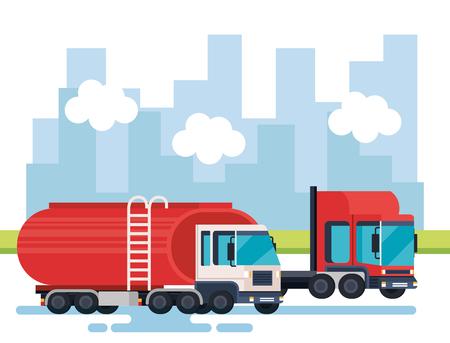 tanker trucks logistic service vector illustration design Stock Illustratie
