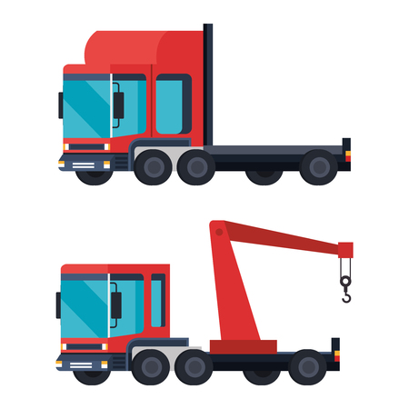 trucks crane logistic service vector illustration design Ilustrace