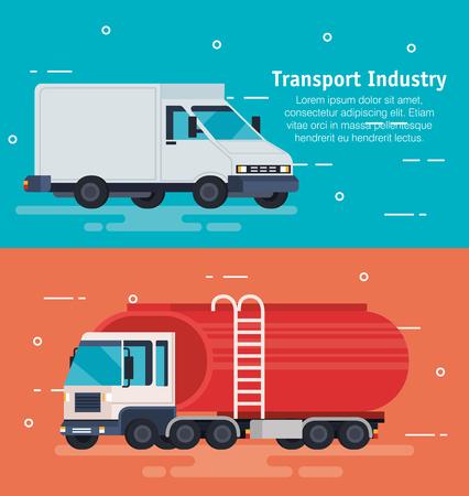 delivery service van and tanker vector illustration design