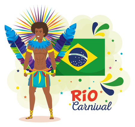 brazilian dancer with flag ans carnival icons vector illustration design