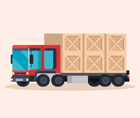 delivery service truck with wooden boxes vector illustration design
