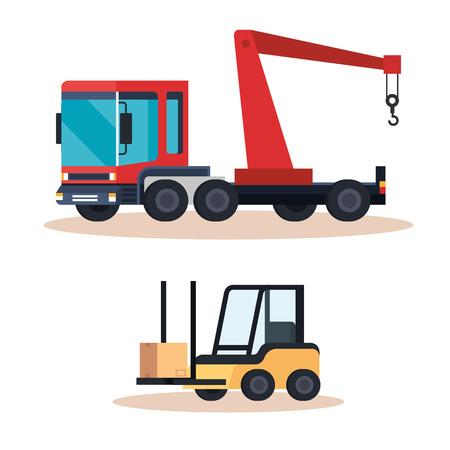 forklift vehicle and crane truck vector illustration design