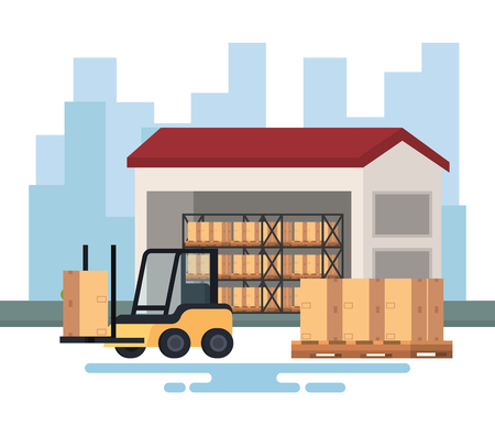 forklift delivery with warehouse vector illustration design