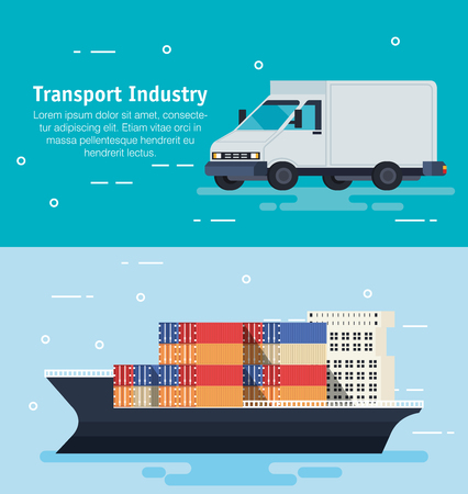 ship with containers and van vector illustration design