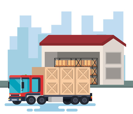 delivery truck with wooden boxes in warehouse vector illustration design