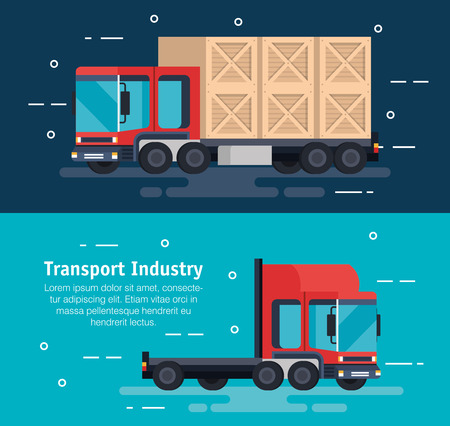 delivery service trucks with wooden boxes vector illustration design