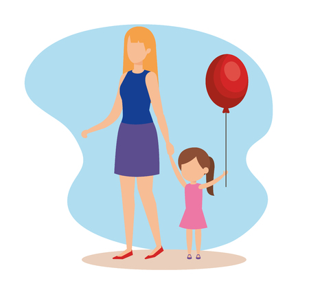 woman with daughter and balloon helium vector illustration