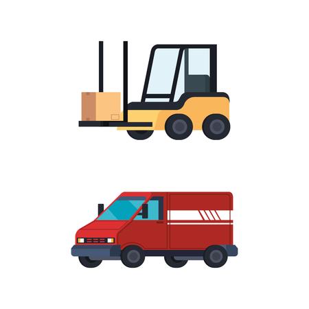 forklift vehicle with van vector illustration design