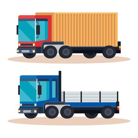delivery service trucks vehicles vector illustration design Illustration