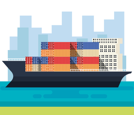 ship with containers delivery service vector illustration design