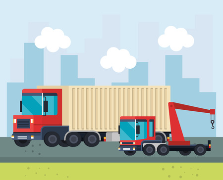 trucks crane logistic service vector illustration design Illustration