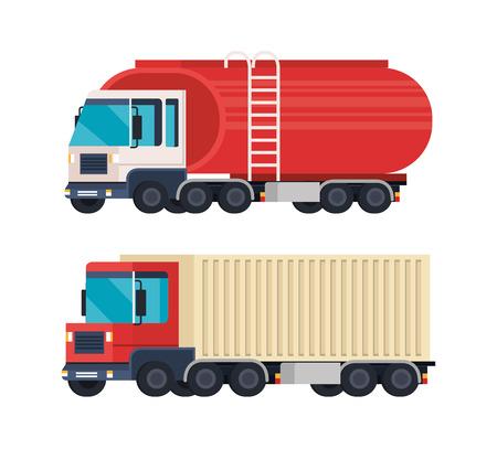 tanker trucks logistic service vector illustration design 向量圖像