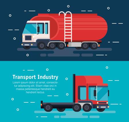 Conception d'illustration vectorielle de service logistique de camions-citernes Vecteurs