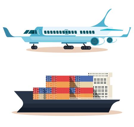 Barco con contenedores y avión, diseño de ilustraciones vectoriales