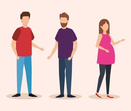 woman pregnancy with men vector illustration design Иллюстрация