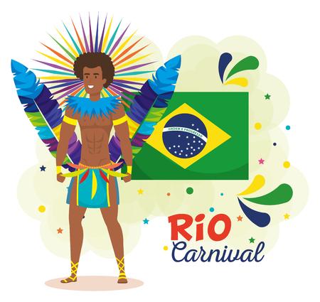 brazilian dancer with flag ans carnival icons vector illustration design Foto de archivo - 118459393