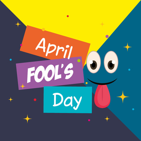 april fools day card with happy face vector illustration design Illustration