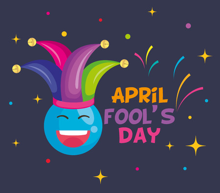 april fools day card with happy face and joker hat vector illustration design